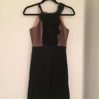 Size 2 BCBG Ruffle Black Mesh Top With Black Bottom Dress