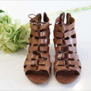 OFFICE Tan Gladiator Sandals Size 6