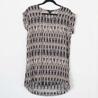H&M Ikat Black/cream Patterned Sheer Dress / Coverup