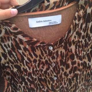 Zara Leopard Cardigan Size M