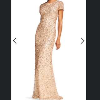 Adrianna Papell Gold Sequin Gown
