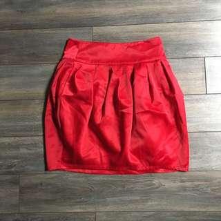 Red Silky Skirt