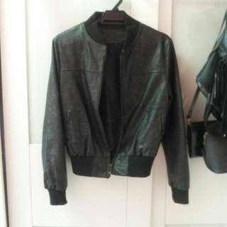 Black Bomber Jacket (PU Leather)