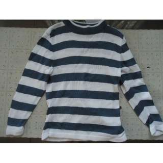 Blue and white Knitted Sweater