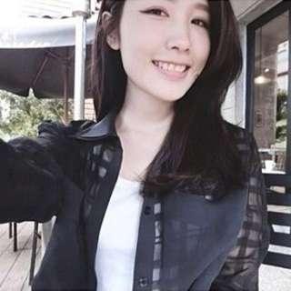 Nu_de 透膚黑色 格子襯衫