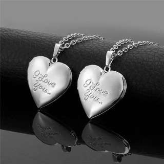925 Silver Necklace Jewelry I Love You Heart Floating Locket Memory Locket Necklace