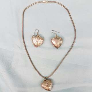 Bulb Heart Necklace And Earring Set