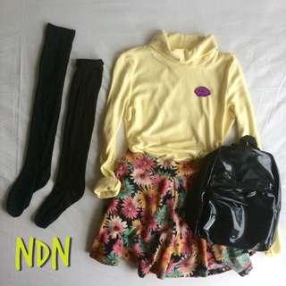 Soft Yellow Turtle Neck & Mini Flower Skirt