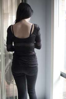 Long Stretchy black top with sheer and opaque panels