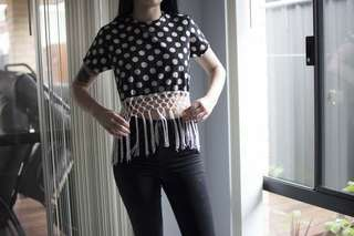Friends of Fancy Daisy shirt with navy and cream polka dots and fringing