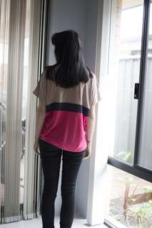 Oversized Beige, Pink, and Navy T-shirt