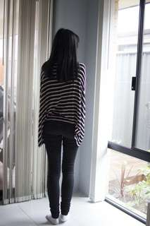 Cream and Black striped oversized batwing shirt