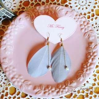 日雜款 Vivi Zipper 日系流行 氣質美少女 民俗風 手作 可愛 羽毛葉片珍珠耳環 耳鉤