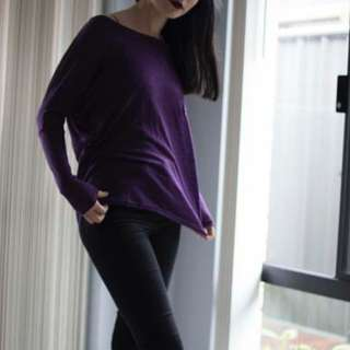 Purple Batwing shirt with pocket