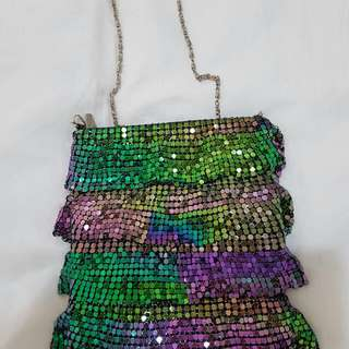Multicolour Cross Over Sequin Purse