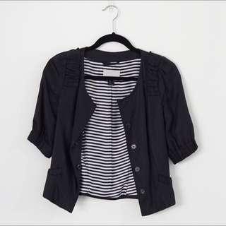 H&M Dark Blue Mid Sleeve Jacket Size 6