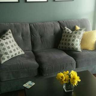 Grey/blue 3 Seat Couch