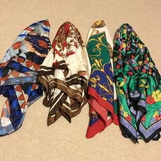 復古絲巾/古著絲巾 只剩左邊兩條