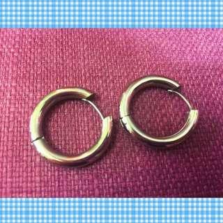 歐美流行款式粗圈圓耳環-銀