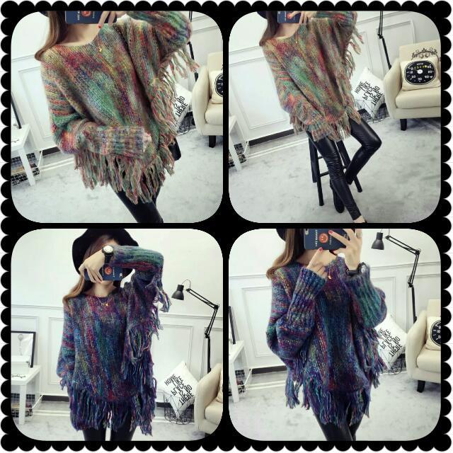 2016新款蝙蝠袖毛衣流蘇針織衫 女裝披肩上衣