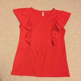 🎁紅色抓皺造型上衣/較大尺碼