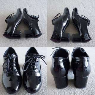 Black Mid Oxford Heels Shoes