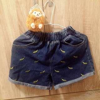 香蕉刺繡滿版牛仔褲
