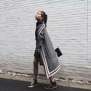 韓國訂製款 歐美風 針織長版外套