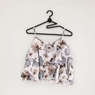Floral Ruffle Cami Spag Top