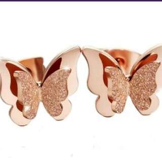 玫瑰金色耳環 Rose Golden Earrings