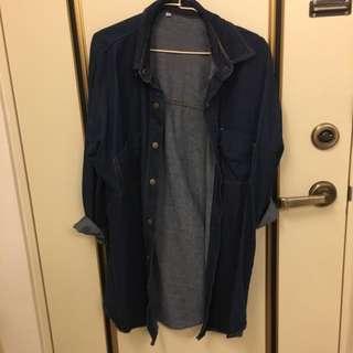 (含運)牛仔長版襯衫❤️可當外套