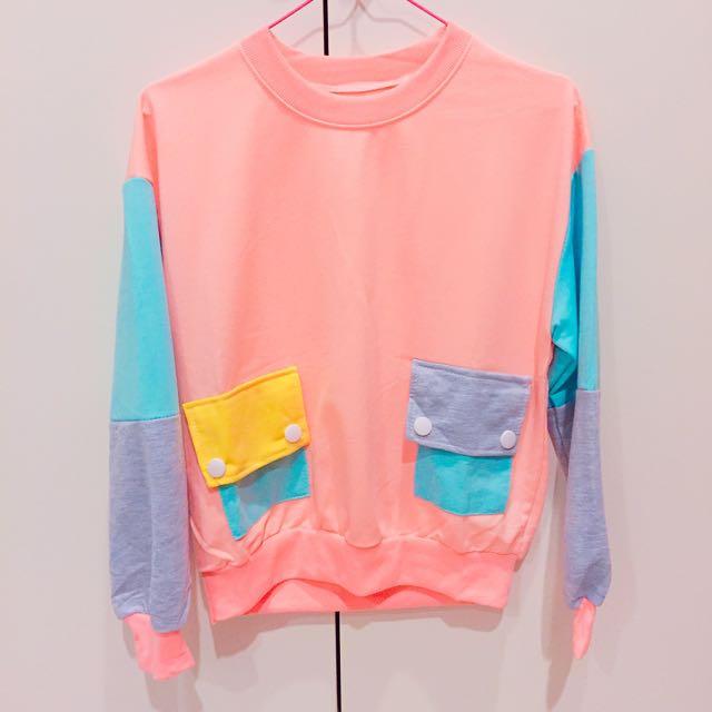 雙色拼接不同色繽紛童趣大口袋上衣/pink