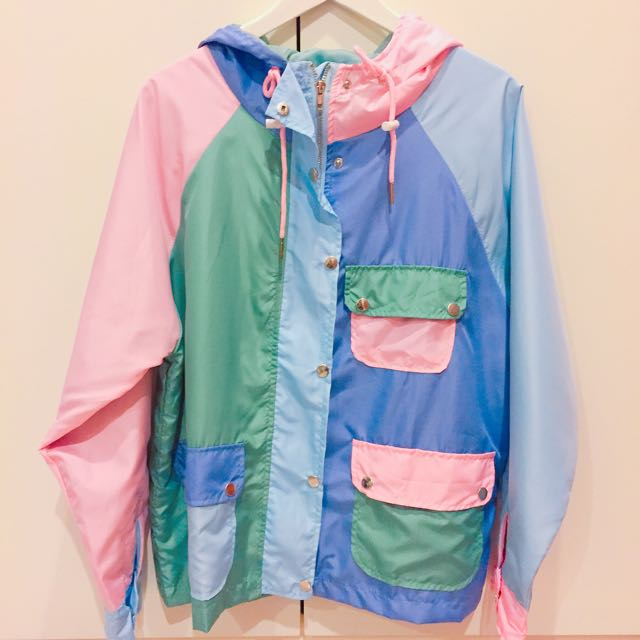 超繽紛撞色馬卡龍色風衣材質可愛外套