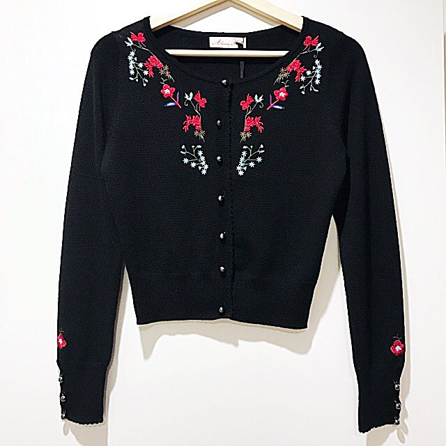 Alannah Hill Wool Blend Embroidered Cardigan With Tag