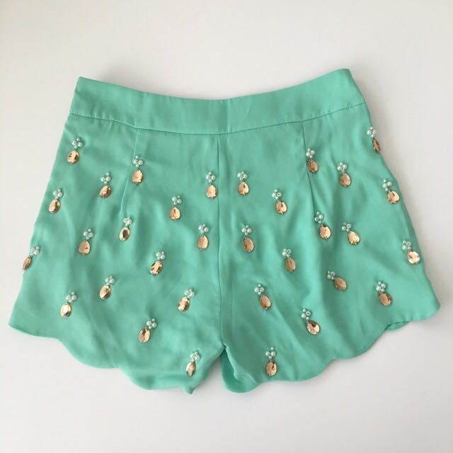 Embellished Scallop Hem Shorts