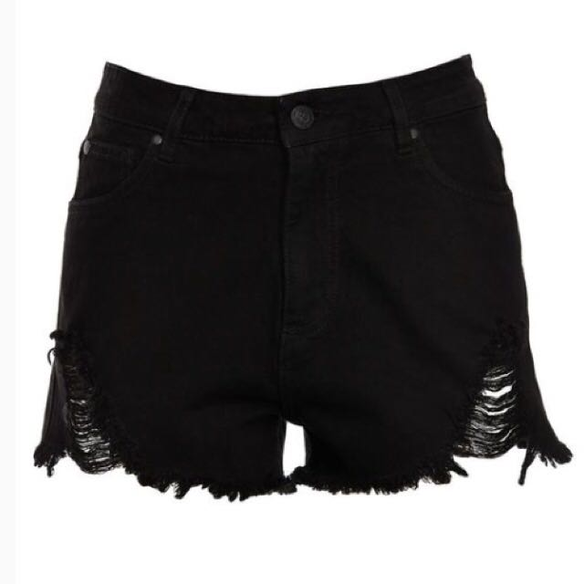 FACTORIE Raid Black Distressed Shorts