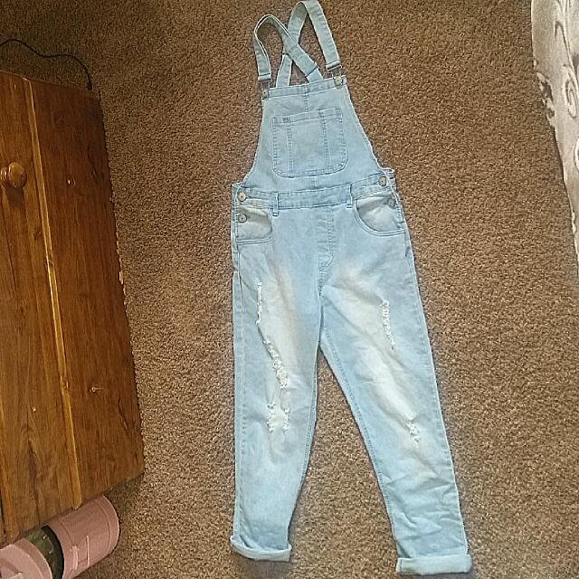 Faded, Ripped Dungaree Overalls