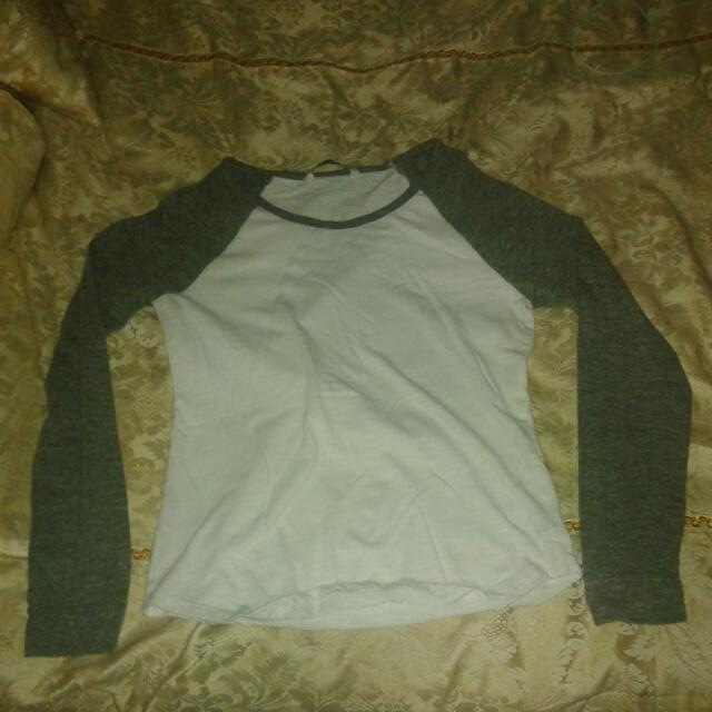 Grey And White Long Sleeve Top