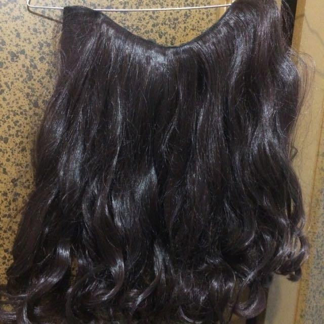 Hairclip 40cm Curly Darkbrown