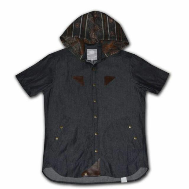Oqliq Cliff B-15A Blouse 民族風 丹寧短袖襯衫 M號