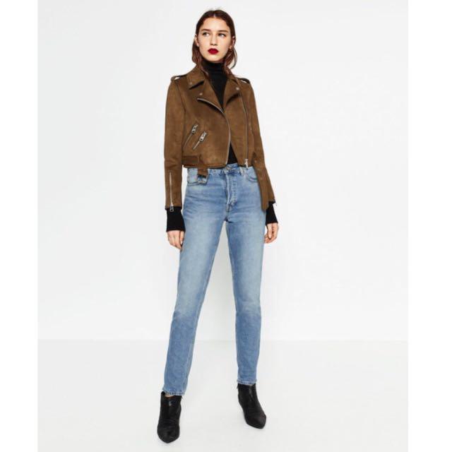bce7193f PO] Zara Inspired Cropped Faux Suede Moto Biker Jacket, Women's ...