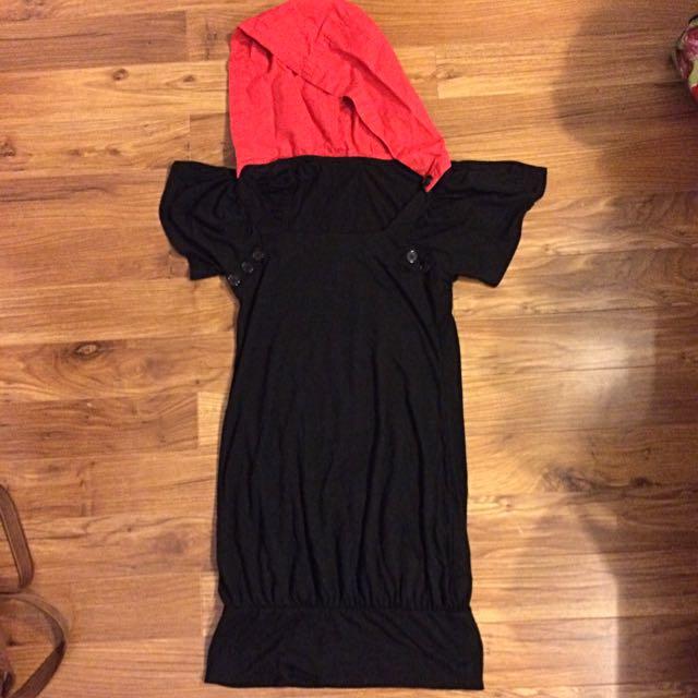 Red Hooded Black Dress