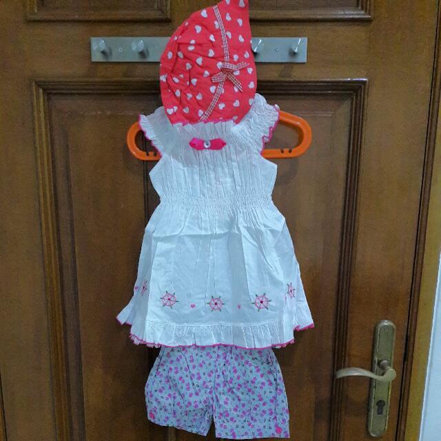 Setelan Anak Perempuan (Terusan,Celana,Topi)