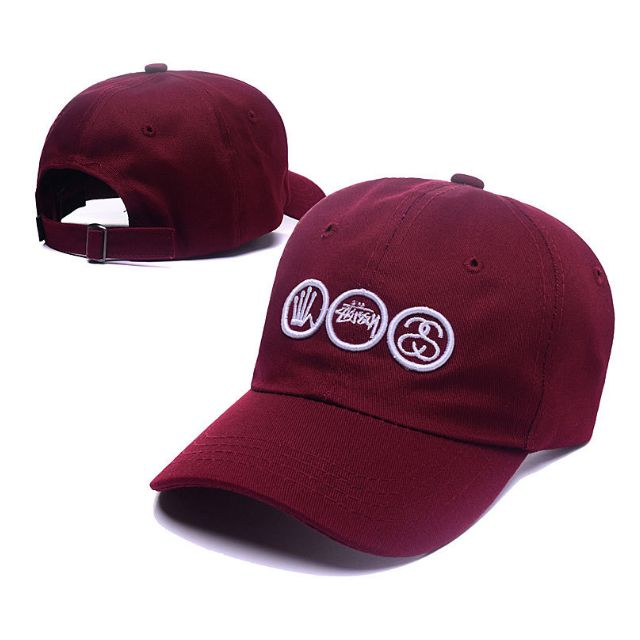 Stussy Maroon SS Crown Curve Brim Golf Cap Hat Caps Hats with Adjustable  Strapback 1fbda1ee49