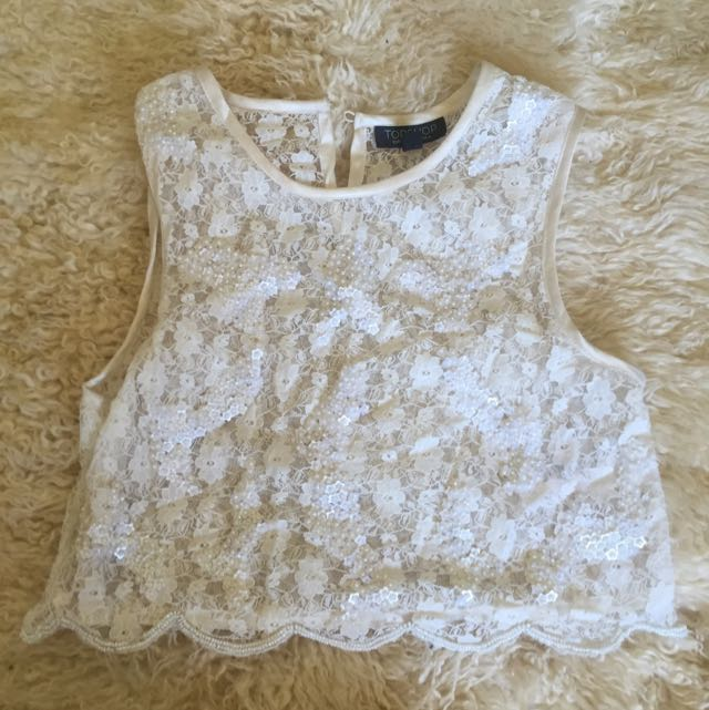 Topshop Cropped Lace Sequin Top - Size UK 6 (US2)