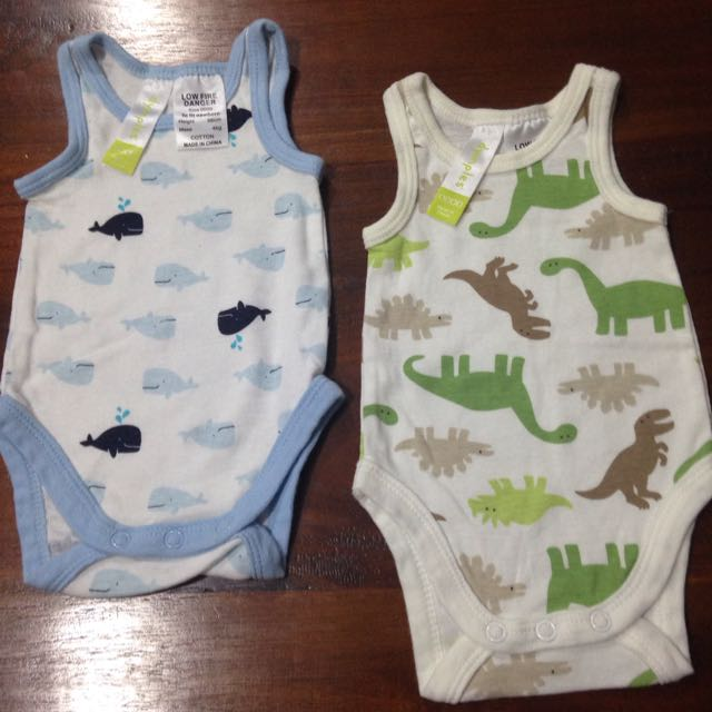 Two Newborn Size 0000 Sleeveless Baby Rompers