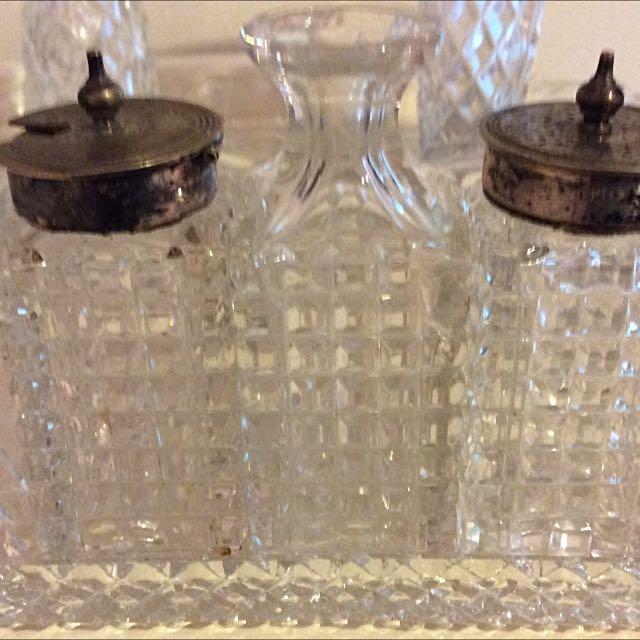 Vintage 4 Piece Cut Glass/silver Cruet Set
