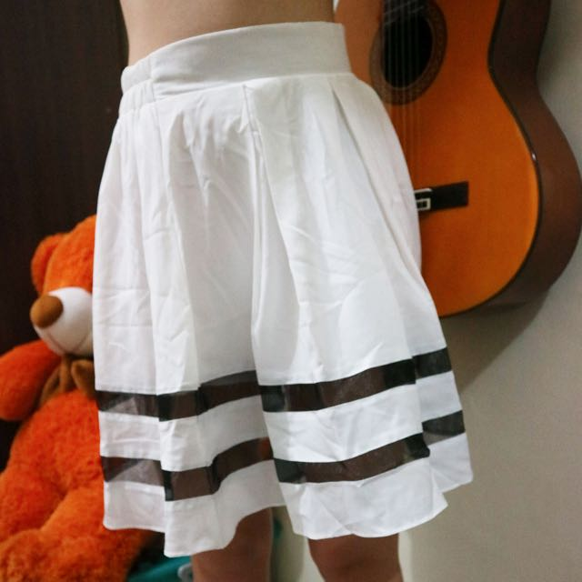 White Skirt With Black Stripes