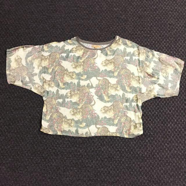 ZARA TRAFALUC Tiger Print T Shirt