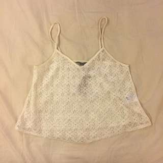 White/Ivory Lace Crop Top